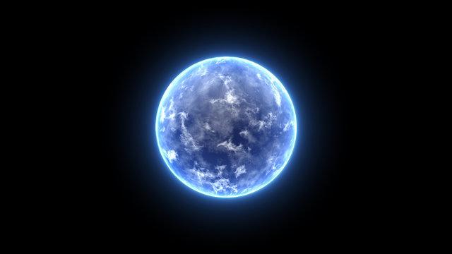 Energy Ball Motion Graphics. Blue earth planet