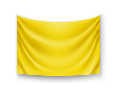 Realistic yellow banner for advertising or sale presentation. Blank rectangular flag template isolated on white background. Wavy fabric mockup with copy space. Branding object vector illustration