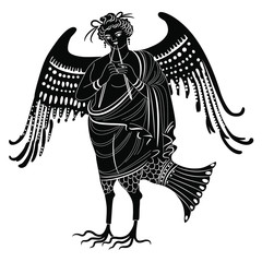Isolated vector illustration. Ancient Greek winged Siren or Harpy playing the flute. Fantastic mythological bird woman. Black and white silhouette.