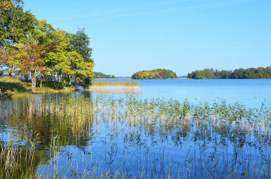 Russia, Karelia. The store of lake Onega in autumn in Kizhi