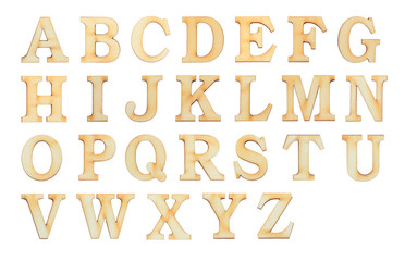 English alphabet letters set over white background. Set of flat wood character font.