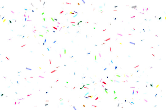 Colorful confetti floating on air over white background. Celebration decorative for new year or festival element.