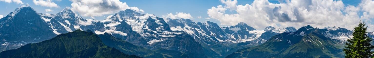 Fotobehang Alpen Switzerland, Panoramic view on snowy Alps from Schynige Platte
