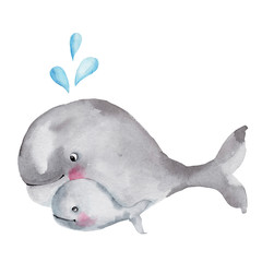 Set cute cartoon whales; watercolor hand draw illustration; with white isolated background