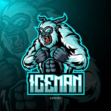 Yeti mascot sports esport logo design