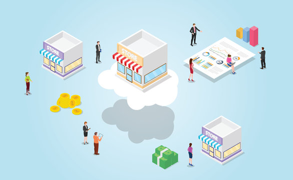 online vs offline store with benefit for online e-commerce technology with modern isometric style - vector