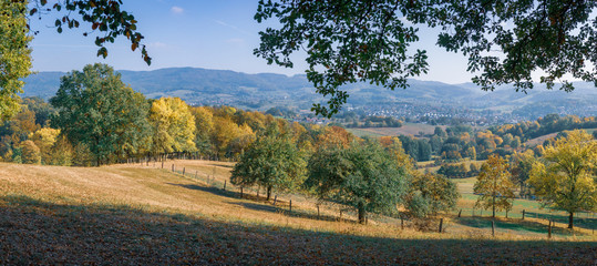 Recess Fitting Gray traffic Landscape panorama during autumn in the low mountain range Odenwald Germany