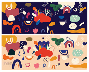 Fototapete - Decorative art hand drawn abstract background with colorful shapes, doodles. Hand-drawn modern pattern