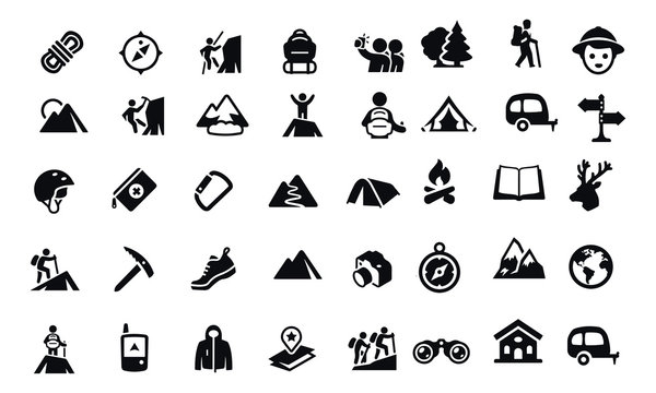 Mountaineering Icons vector design black and white
