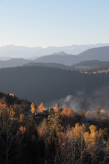 Wall Murals Deep brown Hills during sunrise in mountain valley. Beautiful natural landscape