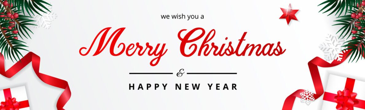 White Merry Christmas Banner, we wish you a merry christmas greeting, Realistic christmas background. Illustration.