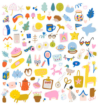 Cute scandinavian characters set including trendy quotes and cool decorative hand drawn elements. Cartoon doodle style illustration for patches, stickers, T-shirt, nursery, kids design. Vector.
