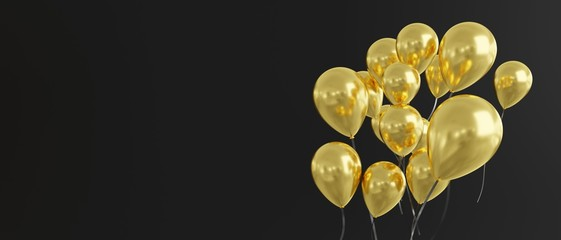 Balloons in gold on black background, banner size, 3d render