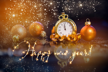 Canvas Prints Bar Festive holiday background with clock showing Midnight at New Years Eve.