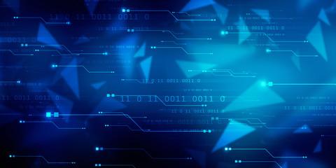 2d illustration abstract digital binary data on computer screen Wall mural