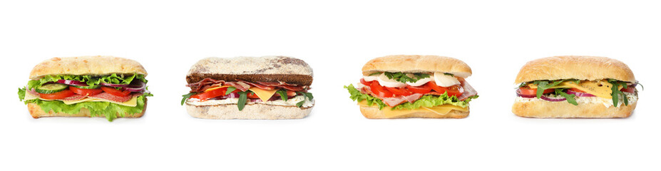 Photo on textile frame Snack Set of delicious sandwiches on white background. Banner design