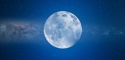 Wall Mural - Full Blue Moon - blue background