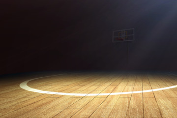 Basketball court with wooden floor and a basketball hoop