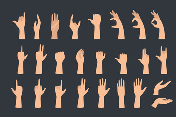 Set of hands showing different gestures. Palm pointing at something