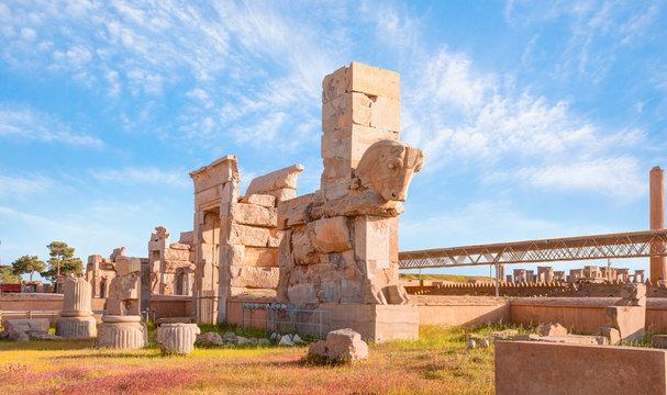 Panoramic view of ancient Persian capital city of Persepolis, Iran