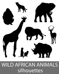 Set of wild african animals silhouettes. Activity book picture.
