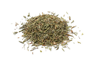 Heap of dried thyme leaves