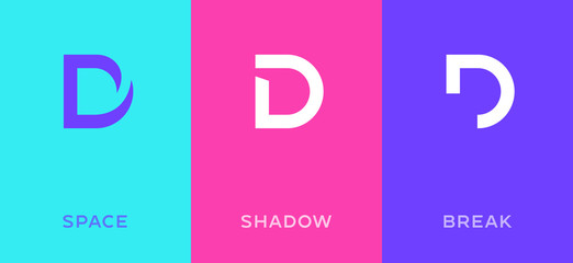 Fototapeta Set of letter D minimal logo icon design template elements obraz