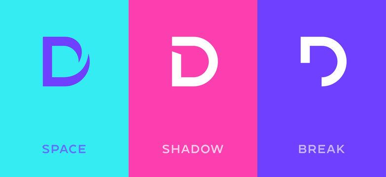 Set of letter D minimal logo icon design template elements
