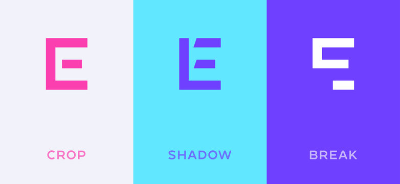 Set of letter E minimal logo icon design template elements