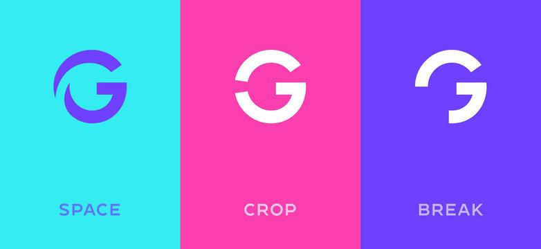Set of letter G minimal logo icon design template elements