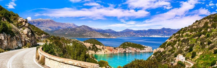 Beautiful nature and sea scenery of Crete island, Istron bay. Greece