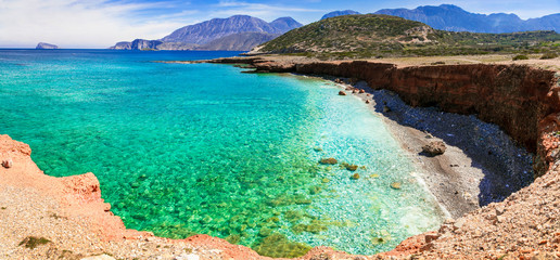 Sea landscape - Beutiful Crete island with turquoise clear waters. Greece