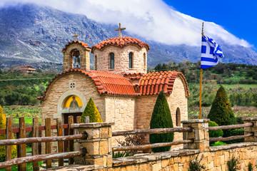 Beautiful traditional orthodox church in mountain village. Crete island. Greece