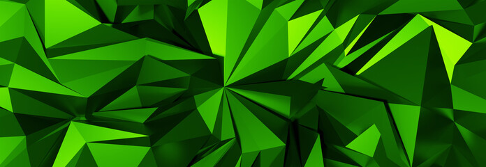 3d ILLUSTRATION, of green abstract crystal background, triangular texture, wide panoramic for wallpaper, 3d black background low poly design Wall mural