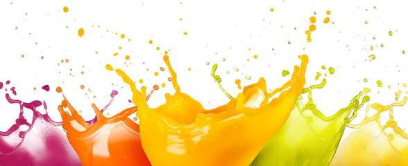 Poster Juice collection of fruit juice colorful splashes isolated on white background.