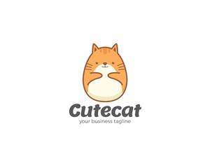 Fotobehang Illustraties Cute vector cat cartoon logo template