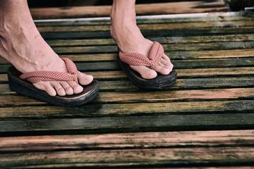 Zori, traditional Japanese sandals on feet