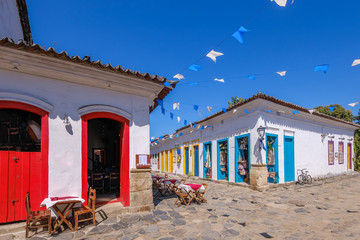 Zelfklevend Fotobehang Brazilië Colorful houses of historical center in the colonial city of Paraty, Rio de Janeiro, Brazil