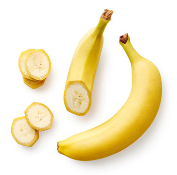 Fresh whole, half and sliced banana