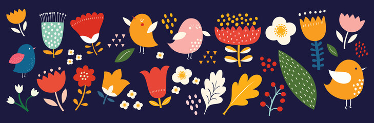 Fototapete - Big collection of flowers, leaves, birds, and spring symbols
