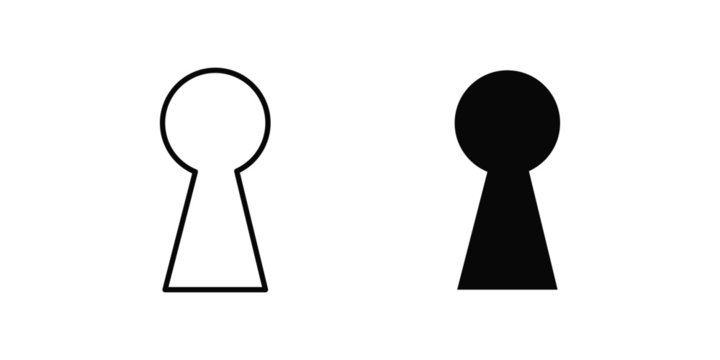 vector illustration of keyhole isolated icon. door, lock, key flat simple symbol