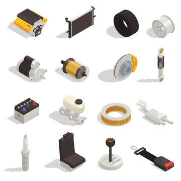 Car Parts Isometric Set