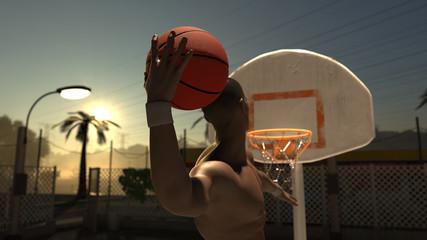 Shirtless basketball player one hand slam dunk street ball late afternoon 3d render