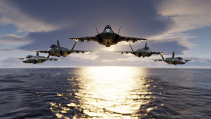 F-35 jet fighters low flying over sea with flypast formatin 3d render