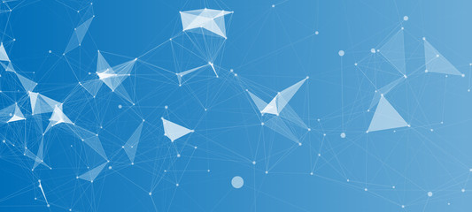Abstract Polygonal Space Blue Background with Connecting Dots and Lines   Network - Data Visualization Vector Illustration