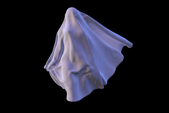 Flying White Ghost female figure covered with a blanket sheet on Black Background. Halloween 3d illustration
