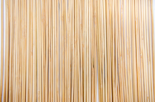 wooden skewers, background. Close-up. View from above.