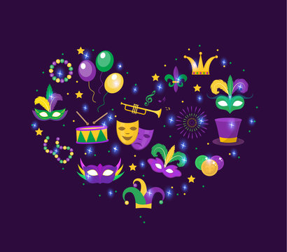 Mardi Gras icon set in heart shape. Template for greeting card, poster, flyer. Love, romance collection. Vector illustration