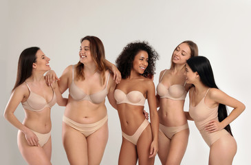 Group of women with different body types in underwear on light background