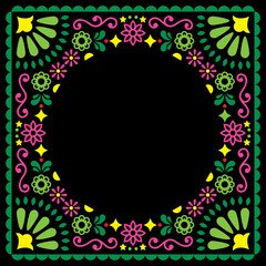 Folk vector greeting card, Mexican style wedding or party invitation, floral pink and green design on black background